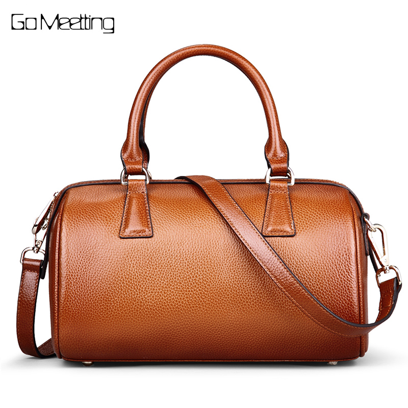 Go Meetting Genuine Leather Women Handbags Cow Leather Ladies Shoulder Bags Fashion Female Boston CrossBody Messenger Bags WS42 new arrival 2017 vintage cow leather handbags women genuine leather shoulder bags boston bag fashion ladies crossbody bag