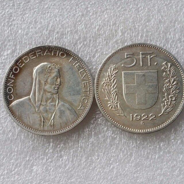 1922 Schweiz Konföderation Silber 5 Franken 5 Franken Kopie