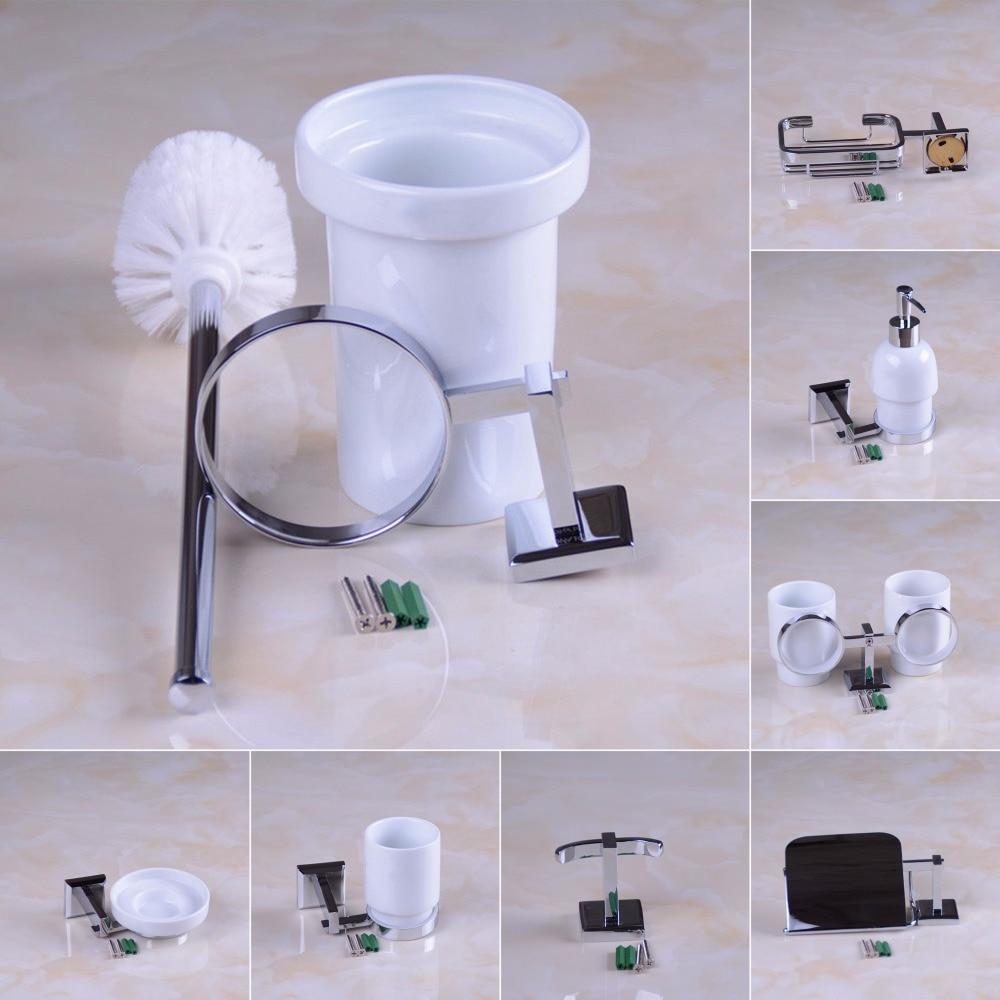 ФОТО Brass Bathroom Accessories Set Ceramic Liquid Soap Dispenser,Toilet Brushed Holder,Robe Hook,Double Cup Holder, Polished Chrome