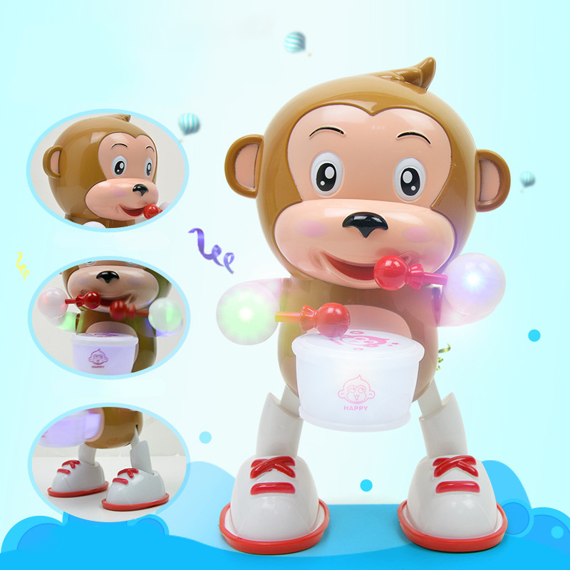 Flashing Drum Dancing Monkey Happy Drummer Toys For Children Electric Beat Drum Monkey Singing Toys Children's Phone Toy