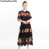 По Megyn осень 2018 г. Высокое качество для женщин цветочный платье с вышивкой черный сетки see through элегантные платья для рождественской вечерин