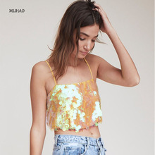 MUHAO sexy laser light pearl Sequin sling crop top tank  tube summer women clothing party beach