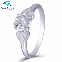 DovEggs 10K White Gold 1.12CTW 6.5mm Round Octagon H Near Colorless Moissanite Engagement Rings with Accents for Women