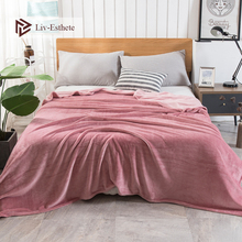 Liv-Esthete Fashion Luxury Flannel Blanket Summer Sheet bed cover Sofa Throw Queen King Size Coral Fleece Blankets 1PCS