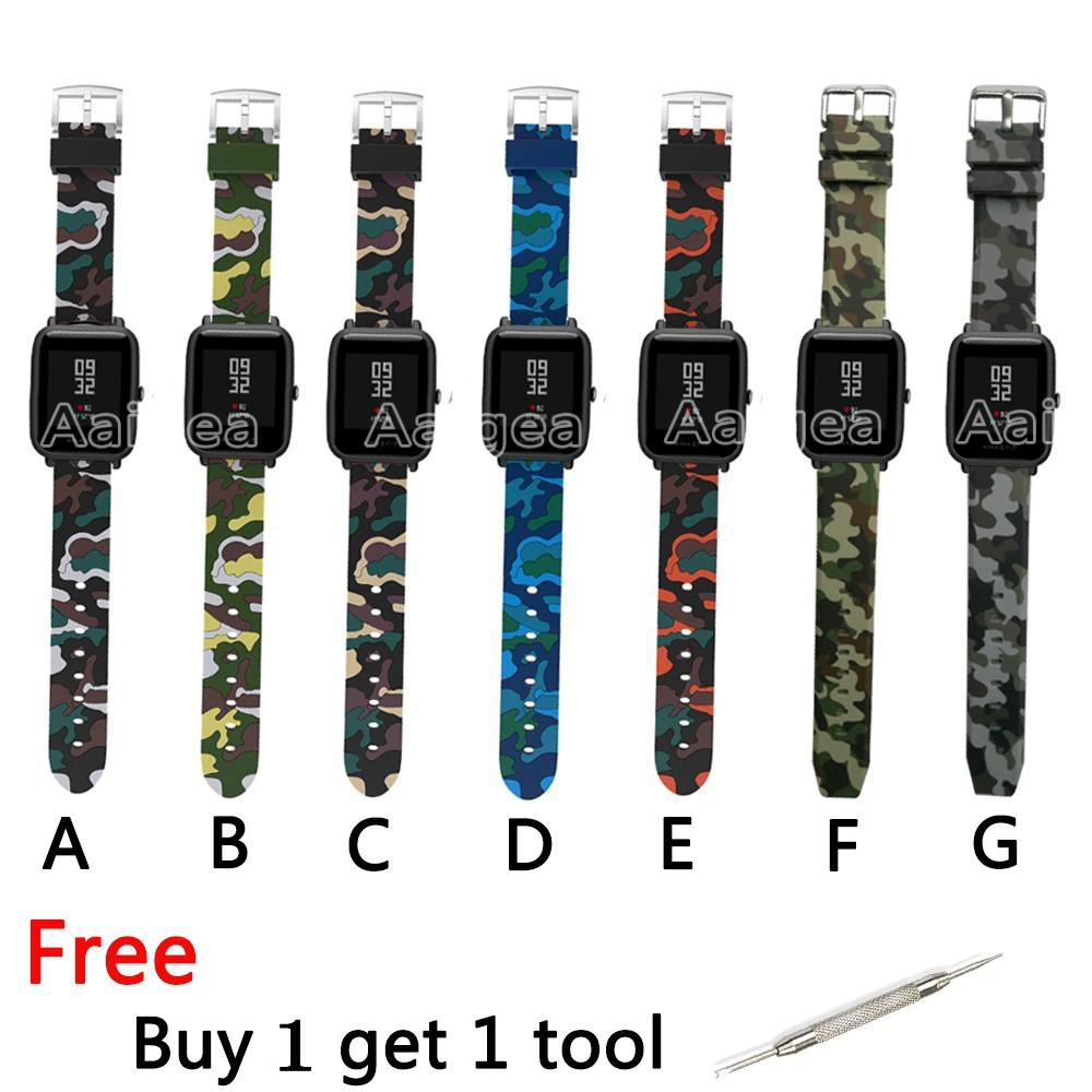 Camouflage Silicone Strap for Huami Amazfit Bip BIT PACE Lite Youth Smart Watch Fashion Replacement Wrist bands for amazfit bip hangrui replacement watch strap for xiaomi huawei bip bit pace lite youth smart watch band accessories for huami amazfit youth
