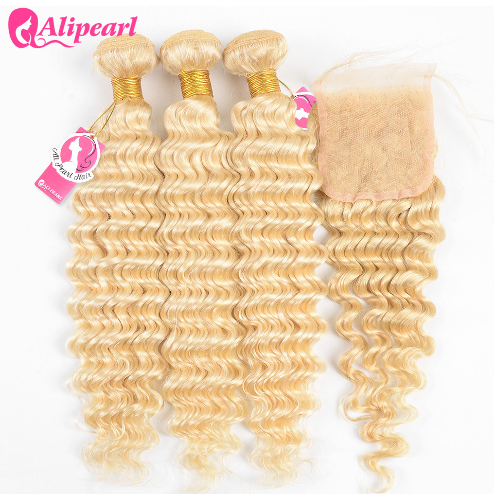 AliPearl Hair Deep Wave Blonde 613 Bundles With Closure Brazilian Human Hair Weave Bundles With Closure 4x4 Free Part Remy Hair image