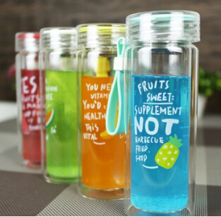Free Shipping! New Summer Style Double-Glass Anti-hot Portable Tea Cup Fruit Cool Drink Sports Bottle Water Cup Soda Bottle