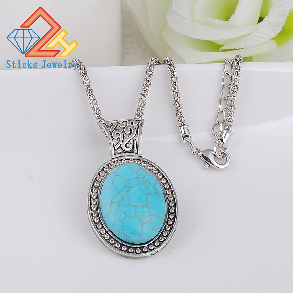 Moda e Ardhjes e Re Guri i gjelbër natyror Tibetant Silver Silver Statement Blue Crystal blue Blue Vaj