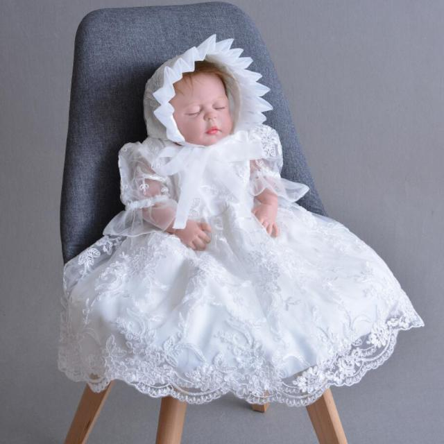 d3ac6702e97 2PCs per Set Baby Girl Baptism Dress White Infant Girl Christening Long Embroidery  Gown Flower Hat 0-24Months