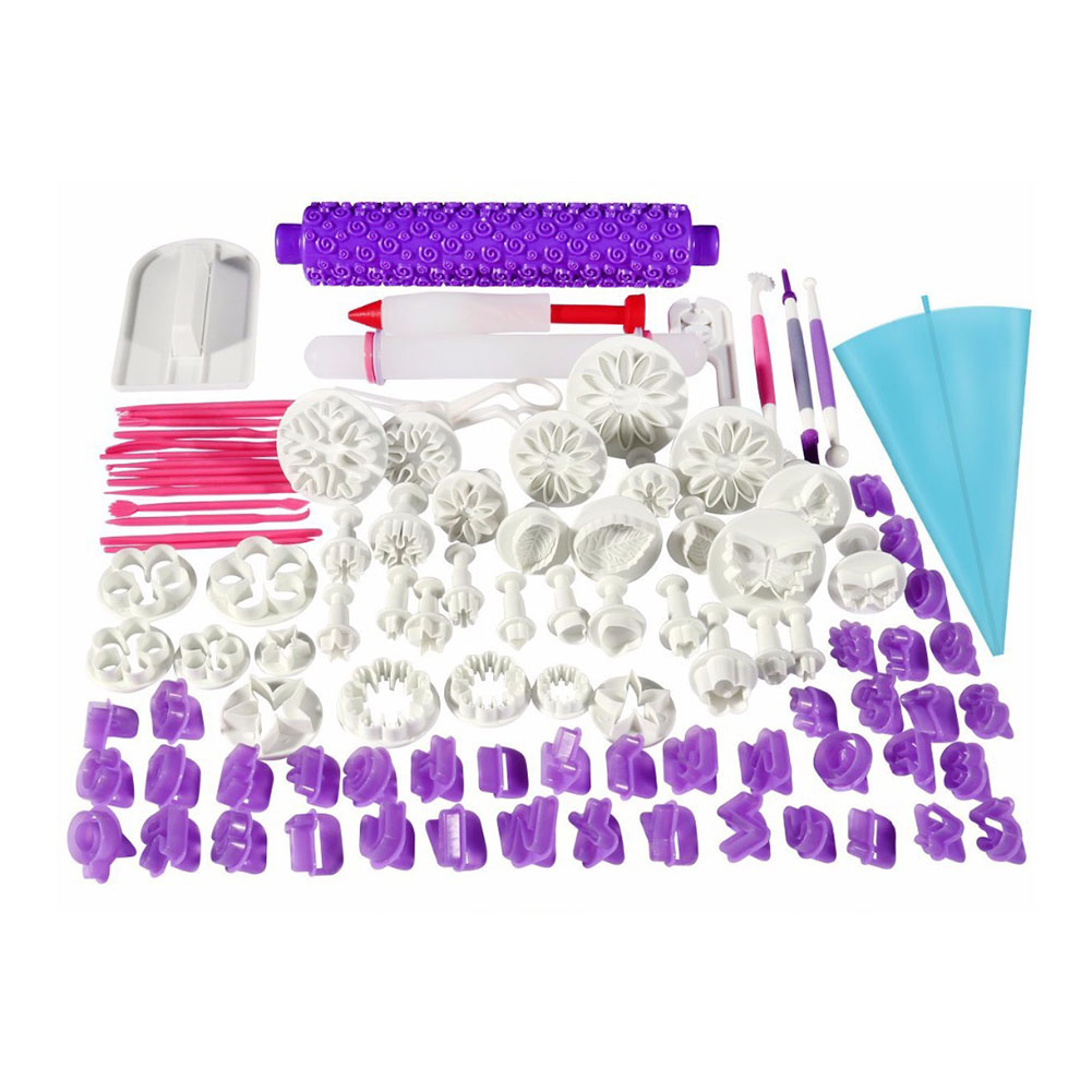 96Pcs Fondant Cake Decor Tools Kit Mold Cutters Rolling Pin Smoother Embosser Scissors Bakeware Hot Sale