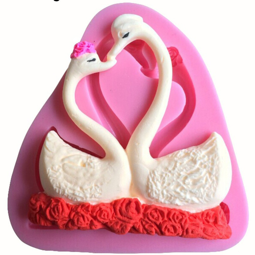 2Pcs Lovely Swan Shape 3D Fondant Silicone Mold Candle Chocolate ...