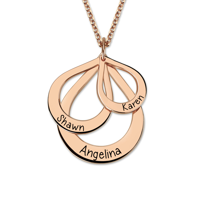 Women Custom Name Engraving Necklace Costume Letter Necklaces Water Drop Shaped Chain Droplet Pendant Rose Gold Gift for Mother-in Pendant Necklaces from Jewelry & Accessories    2