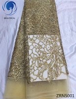 BEAUTIFICAL Gold Net lace fabric with sequins and beads 2017 Latest design african lace with embroidery for wedding 5yards ZRN50