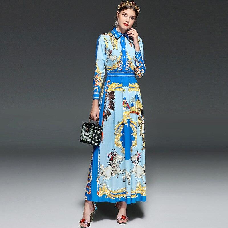2018 Longue Femmes Plage Manches Boho Vintage Pu Bleu Printemps Bohemain Imprimer Automne Ciel Cheval Robe Dames qE1OEr