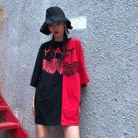 Oversize Tops Women Harajuku Street Wear Summer T Shirt Angel Devil Print Black Red Rock Punk