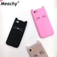 Cute Cartoon Cat Cases 3D Silicone Soft Back Cover For iPhone