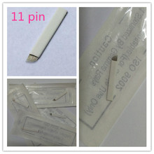 50 PCS 11 Pin Permanent Makeup Eyebrow Blade For 3D Embroidery Manual Tattoo Pen Machine Cosmetic Eyebrows