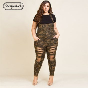 Plus Size Women Rompers Overalls Casual Camouflage Jumpsuits With Hole High Street Fashion Lady Rompers