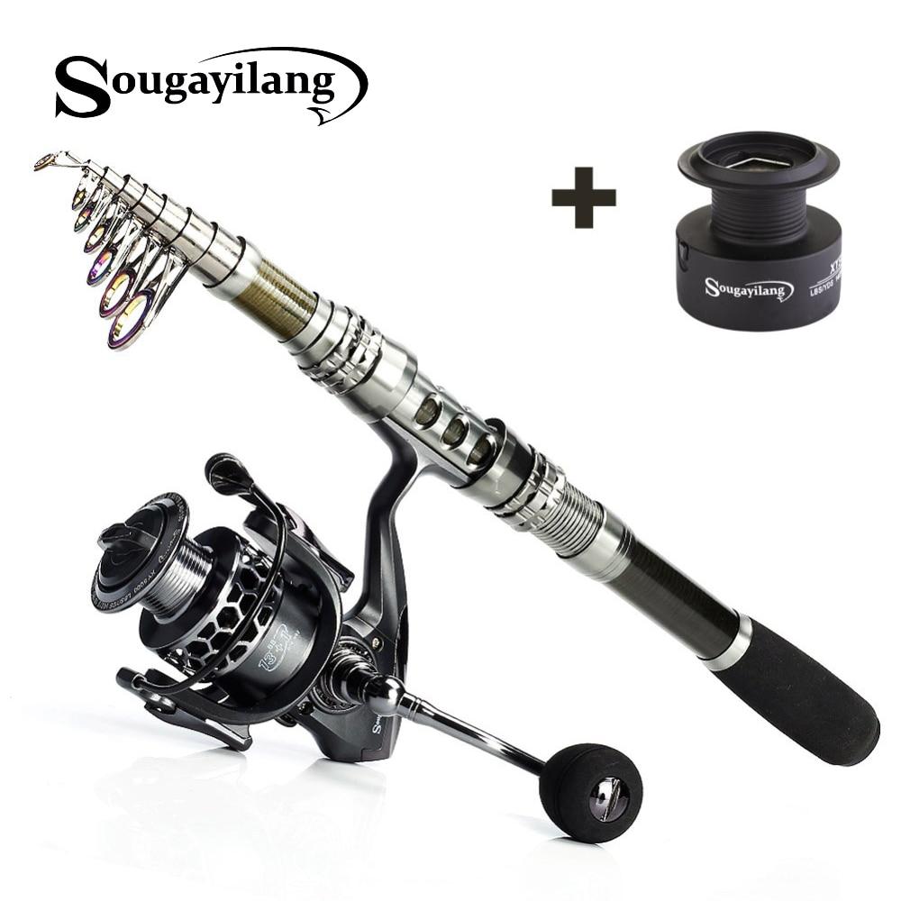 Sougayilang 1.8 3.3m Telescopic Fishing Rod kits and 14BB Metal Spool Spinning Reel Carp Fishing Rod Reel Combo Saltwater pesca