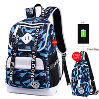 Fashion Male/Femal Oxford Cloth Backpack Student Bookbag Outdoor Leisure Shopping Rucksack Computer Bags With Chest Bag for Free