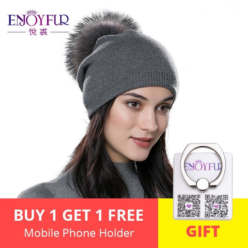 b56a3ba8 ENJOYFUR Winter women real fur pom pom hats wool knitted thick warm lined  beanies hat lady