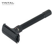 лучшая цена YINTAL New Adjustable Butterfly Open Double Edge Safety Razor Matte BLACK Brass Razors Designed By WEISHI