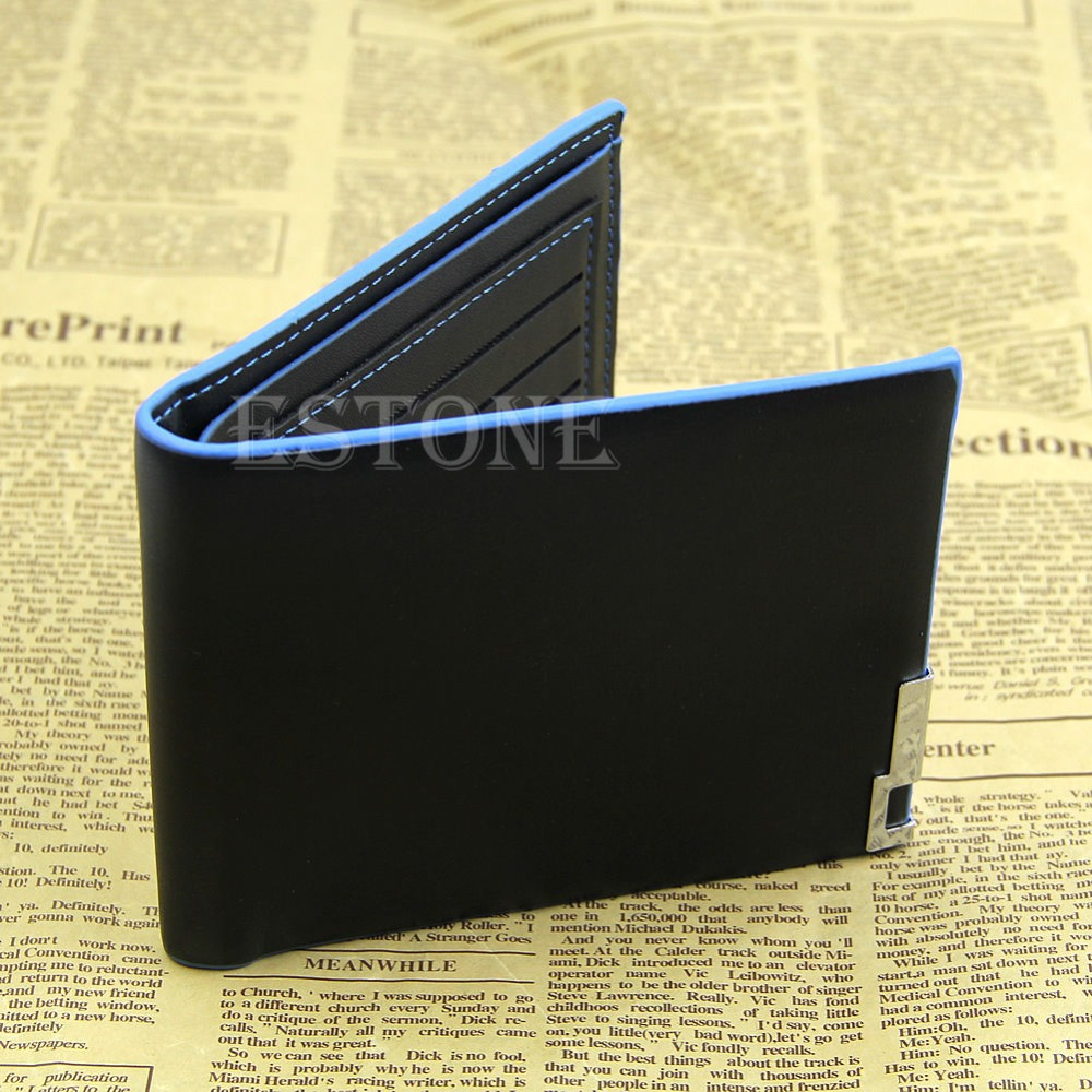 THINKTHENDO 2016 Mina New E107 Men's Stylish Bifold Business Leather Wallet  Card Holder Coin Wallet Purse Black-Y122
