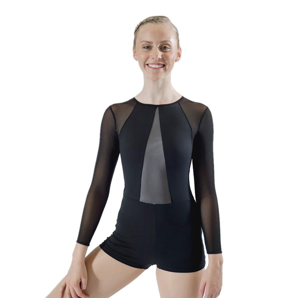 5f8f4fa04cf3 Adult Girls Black Blue Gymnastics Leotard Long Sleeves Shortard ...