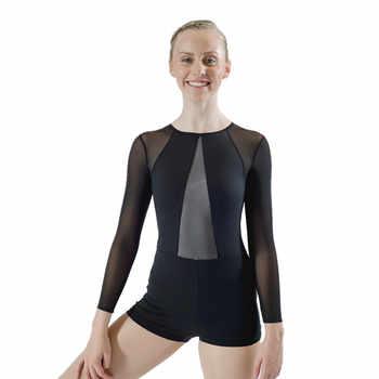 Adult Girls Black Blue Gymnastics Leotard Long Sleeves Shortard Unitard Microfiber Lycra Mesh zipper Back Ballet Bodysuit - DISCOUNT ITEM  10% OFF All Category