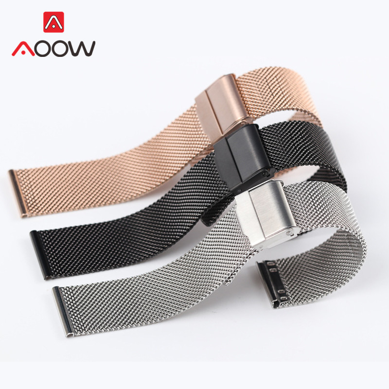 Milanese Loop Watchband 12 14 16mm 18mm 20mm Stainless Steel Universal Replacement Strap Band For DW Watch Accessories Rose Gold