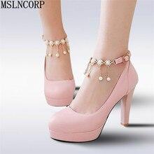цены plus size 34-43 Spring Summer Women Round Toe Pumps High Heels Shoes Wedding feminino Platform Pearls Ankle Strap Dress Shoes