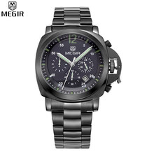 MEGIR Chronograph Multifunction Military Men Shows Leather Luxury Watches Waterproof Quartz Watches Relogio Masculino