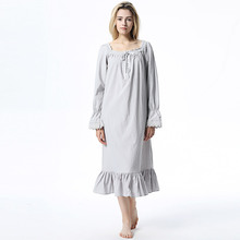 Plus Size Womens Long Nightgown Cotton Nightdress Europe Arab Nightwear Lace Vintage White Gray Spring Sleeping Dress Sleepwear