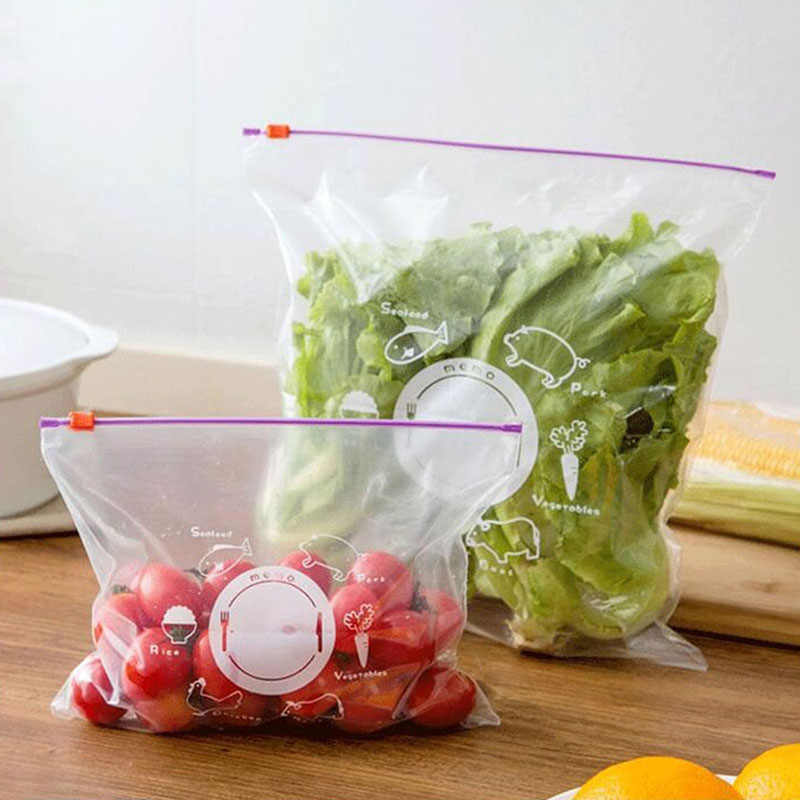 10PCs Reusable Fresh Zipper Bag Freezing Heating Food Saran Wrap Storage Bag Versatile Vacuum Sealed Bag Kitchen Accessories