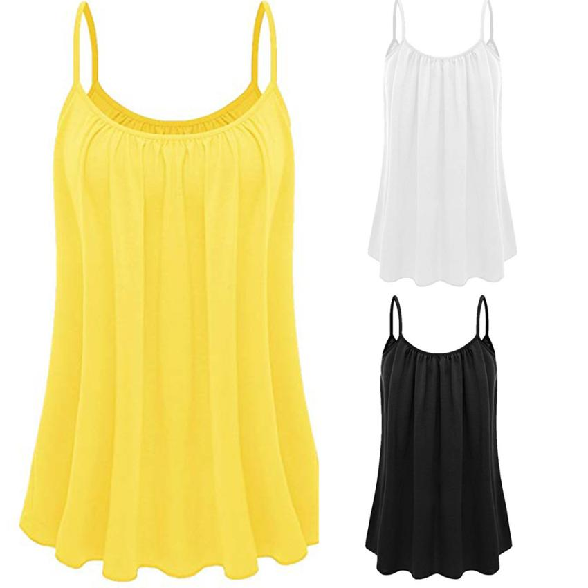 Womens Loose Sleeveless O-Neck Plus Size Solid Color Cami Camisole   Tank     Top   Vest summer   tops   for women 2018