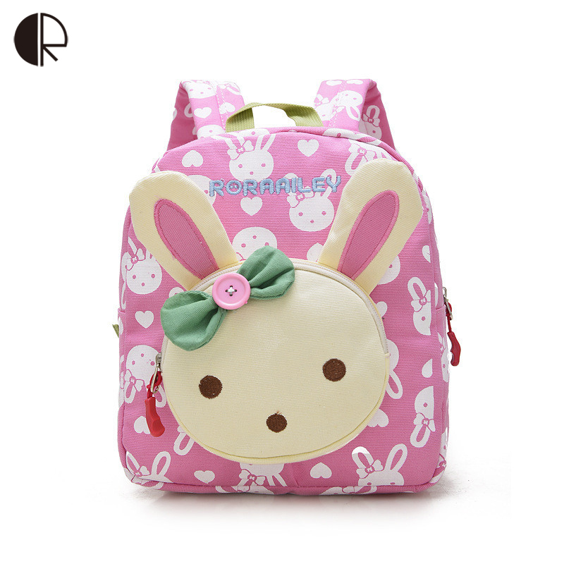 Lovely Cute Kids School Bags Rabbit Bear Dolls Applique Canvas Backpack Mini Baby Toddler Book Bag Kindergarten Rucksacks BP820