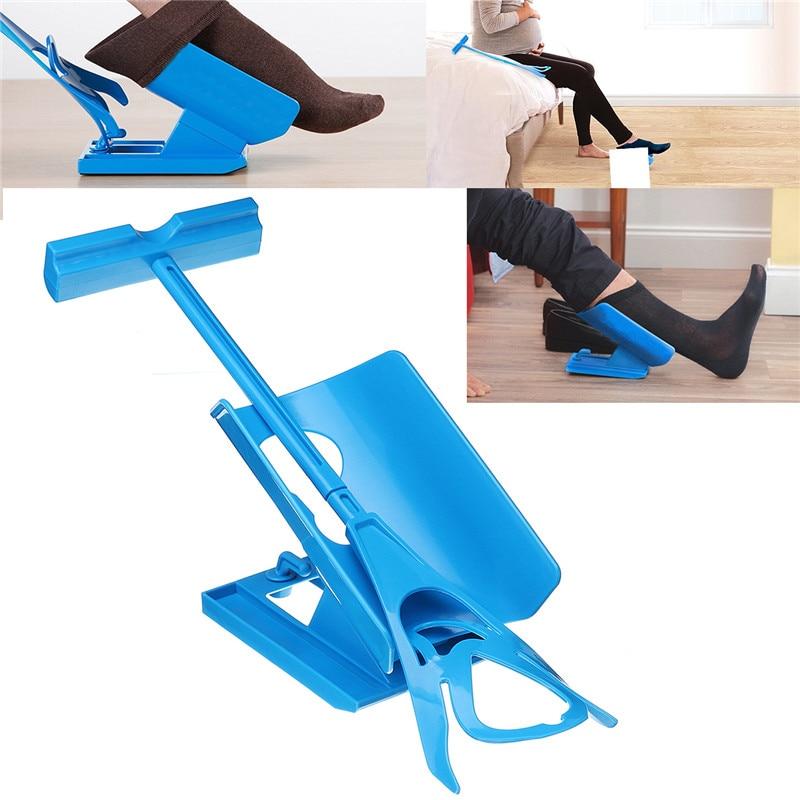 1pc Blue Sock Slider Aid Easy on off Sock Helper Kit Shoe Horn Pain Free No Bending Shoe Horn for Pregnancy Dressing Aids Tools sock slider aid blue helper kit help