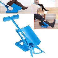 1pc Blue Sock Slider Aid Easy on off Sock Helper Kit Shoe Horn Pain Free No Bending Shoe Horn for Pregnancy Dressing Aids Tools