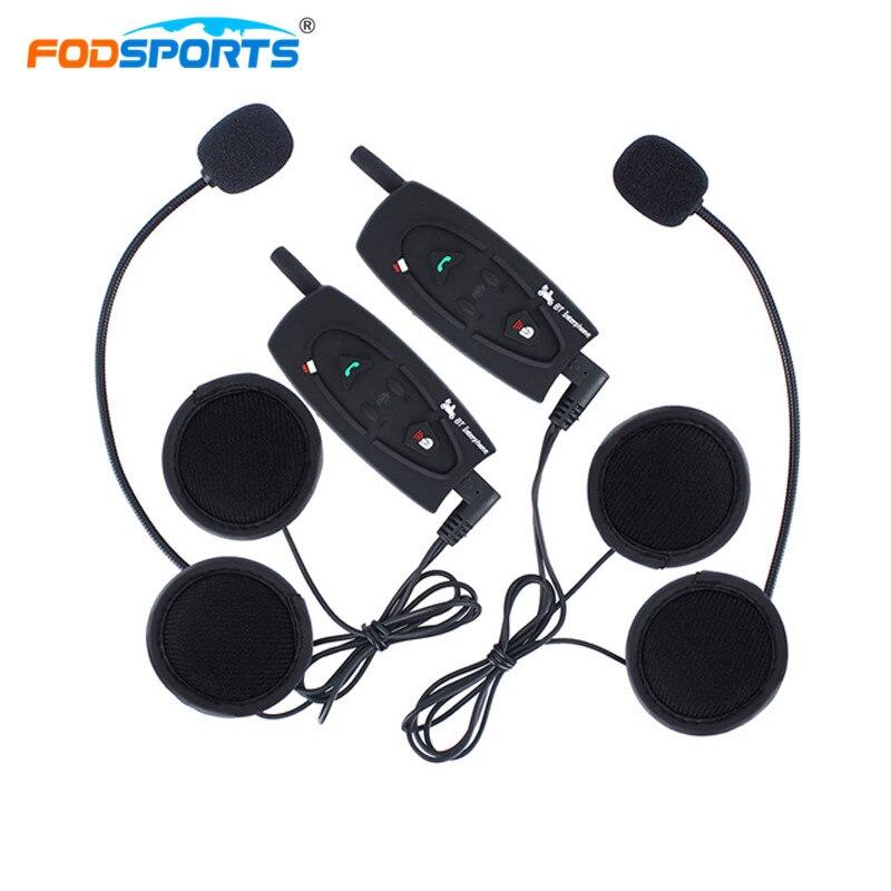 где купить 2Pcs Fodsports V2 500M Bluetooth Headset Intercom Motorcycle Helmet Headset Full Duplex Wireless Intercom Waterproof Interphone дешево