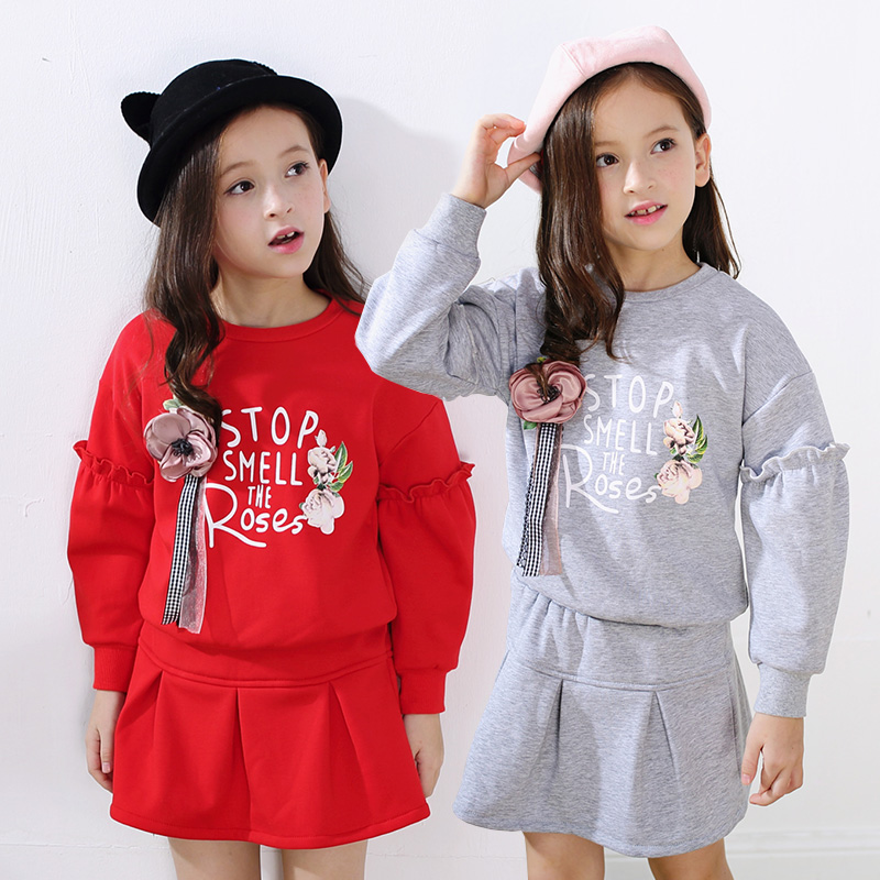 Baby Girl clothing Outfits Sets 2017 Fashion spring Kids Long Sleeve love flower t Shirts + skirts 2Pcs clothes 2 3 4 6 8 10 11T sleep professor spring love