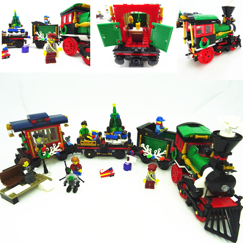 770 stücke Modell gebäude kits kompatibel mit lego stadt Die Weihnachten Winter Urlaub Zug 3D blöcke modell gebäude spielzeug 10254