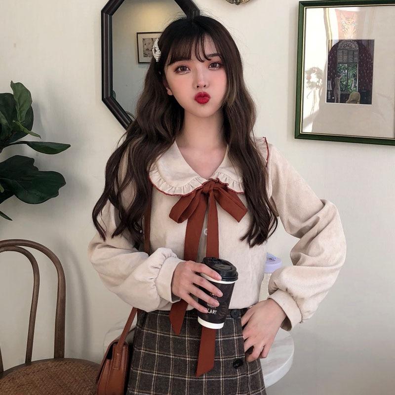 Bow Flannel Women Kawaii Shirt Ruffles Collar Long Sleeve Soft Warm Slim Shirts Blouses For Female Sweet Girl Corduroy Button