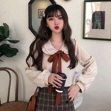 קשת פלנל נשים Kawaii חולצת ראפלס צווארון ארוך שרוול רך חם Slim חולצות לנשים ילדה מתוקה קורדרוי כפתור