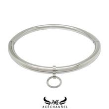 ACECHANNEL Poliert Glänzende Solide Edelstahl Slave Kragen Abschließbar Drehmoment Halsband Halskette Fetisch Tragen Schmuck