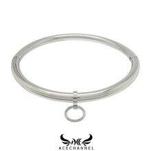 Acechanil colar polido brilhante de aço inoxidável, escravo colar de torque bloqueável, gargantilha, fetiche, jóias