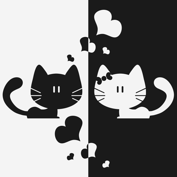Black white cat love heart home decor sticker removable art kitchen wall sticker bedroom wall