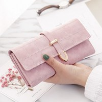 Pink Leather Long   Wallet   Handbag Coin Pocket Card Holder Womens Phone   Wallets   and Purses Money Bags High Quality Long   Wallets
