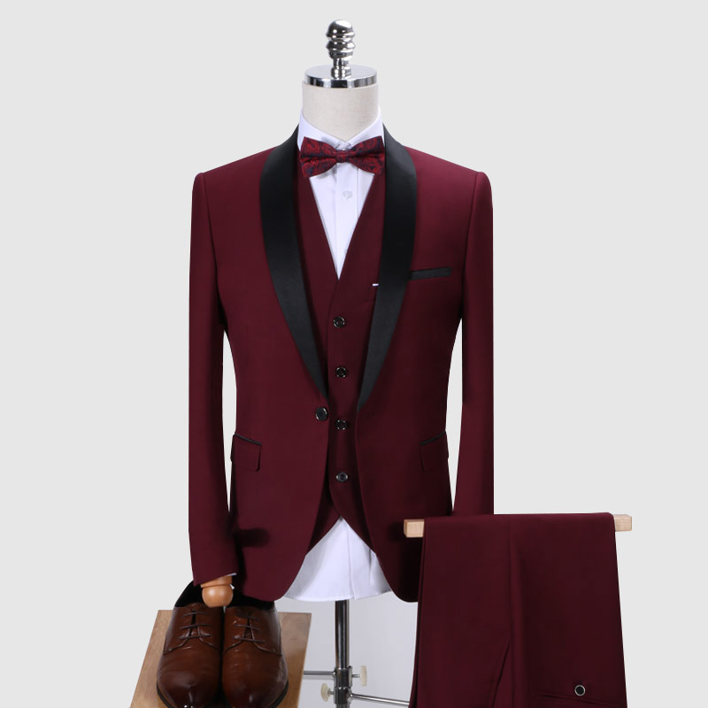 (Jacket+ Pants + Vest) Brand Men's Suit 2019 Men Wedding Dress Clothing Slim Shawl Collar 3 Piece Set Burgundy Suit Men's Tuxedo