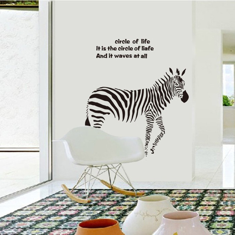 ... Zebra Wall Art Decals For Living Room Bedroom 3D Wallpapers On Walls  Sticker 90*85cm ... Part 28