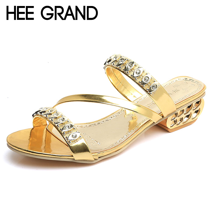 HEE GRAND 2018 Crystal Fretwork Heels Casual Gold Sliver Gladiator Slides Beach Slip On Platform Shoes Woman Slippers XWT1051 hee grand gold silver high heels 2017 summer gladiator sandals sexy platform shoes woman casual shoes size 35 43 xwz4075